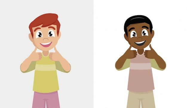 Niño feliz sonriendo haciendo pulgares arriba signo con ambas manos.