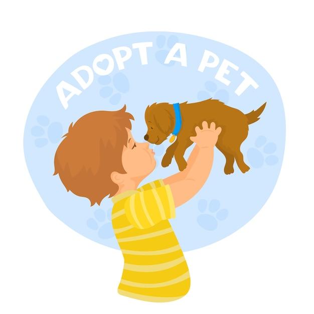 Niño feliz sostiene un perro adoptado