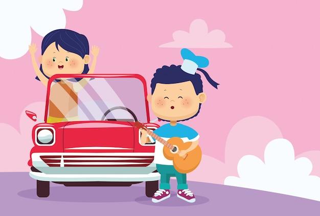 Niño feliz tocando la guitarra y niña en coche clásico