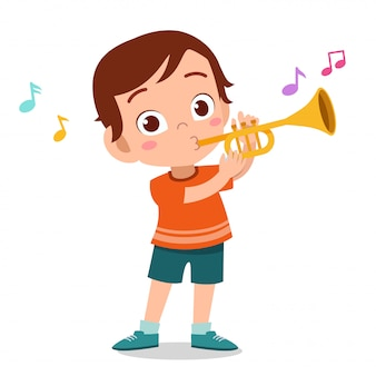 Niño feliz tocar trompeta vector de música