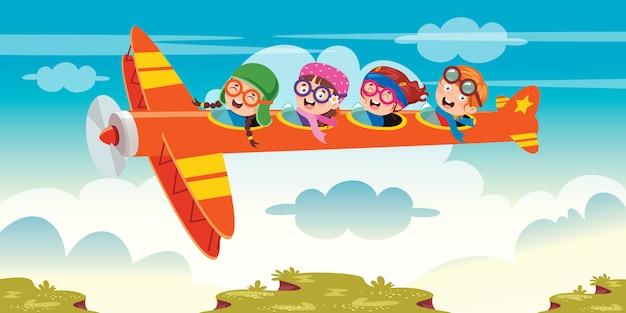 Niño feliz volando en avión