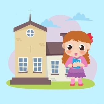 Un niño frente a la iglesia.