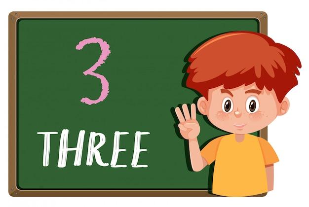 Un niño con gesto de mano número