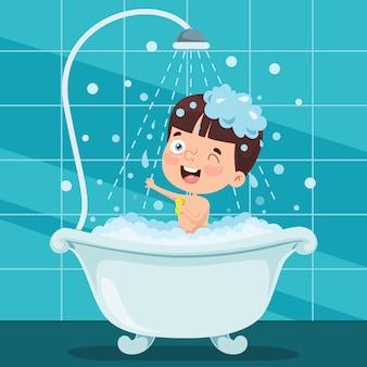 Niño gracioso con baño
