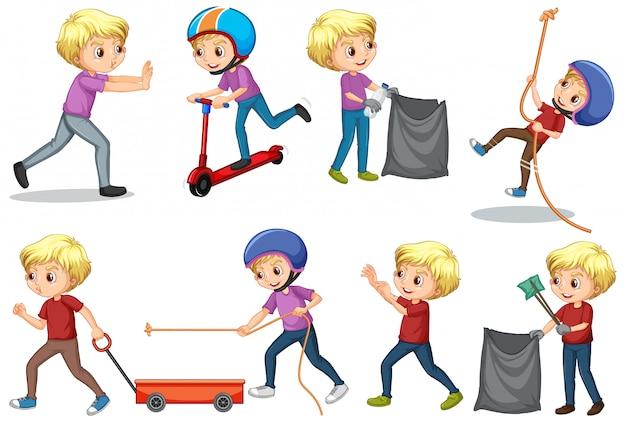 Niño haciendo diferentes actividades en blanco