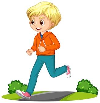 Niño haciendo ejercicio corriendo personaje de dibujos animados aislado
