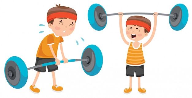 Niño haciendo ejercicio de levantamiento de pesas
