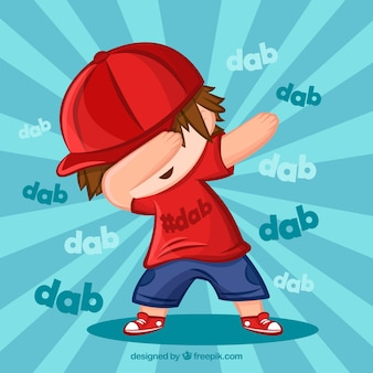 Niño haciendo movimiento dabbing