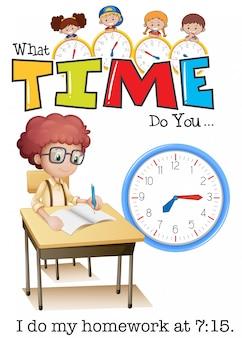 Un niño haciendo la tarea a las 7:15
