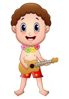 8f057c886 Niño hawaiano tocando la guitarra