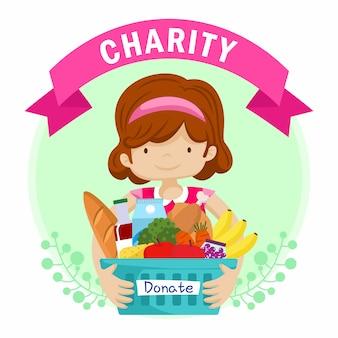 Niño con ilustración de diseño plano de donación de caridad de cesta