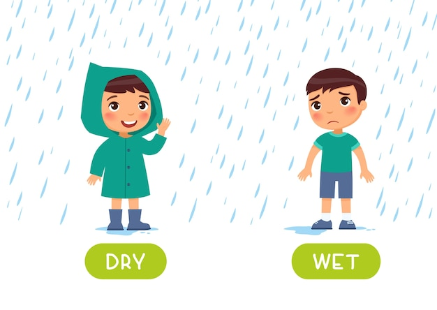 Niño con impermeable y sin impermeable bajo la lluvia. ilustración de opuestos secos y húmedos. tarjeta de ayuda docente, para el aprendizaje de una lengua extranjera.