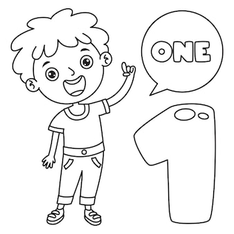 Niño indicando uno, dibujo de arte lineal para niños página para colorear