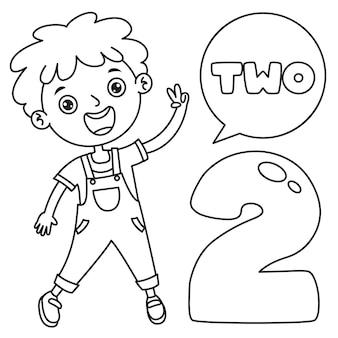 Niño indicando dos, dibujo de arte lineal para niños página para colorear