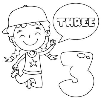 Niño indicando tres, dibujo de arte lineal para niños página para colorear
