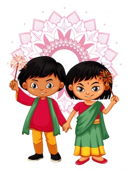 Niño indio y niña con mandala