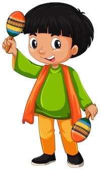 Niño indio sosteniendo maracas sobre fondo blanco.