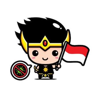 Niño de indonesia con bandera contra virus