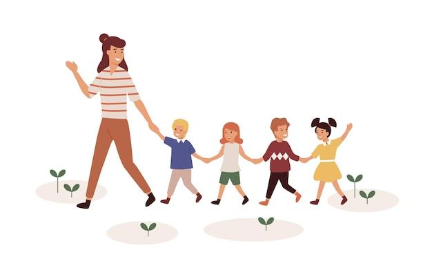 Niño de jardín de infantes con niños ilustración vectorial plana