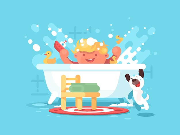 El niño juega en el baño.
