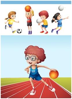 Niño, juego, baloncesto, otro, deportes, ilustración
