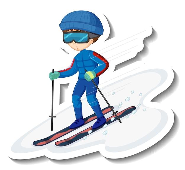 Un niño jugando al esquí personaje de dibujos animados pegatina