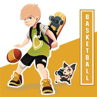Niño jugando baloncesto. increíble niño de baloncesto. baloncesto