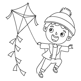Niño jugando con una cometa, dibujo de arte lineal para niños, página para colorear