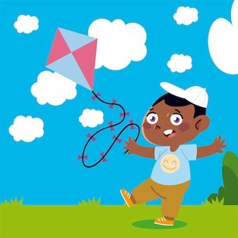 Niño jugando con cometa en el patio de dibujos animados, ilustración infantil