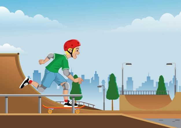 Niño jugando patineta en skatepark