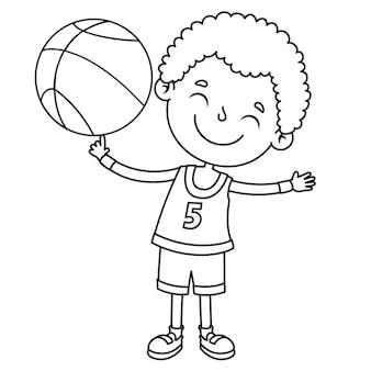Niño jugando con pelota, dibujo lineal para niños página para colorear