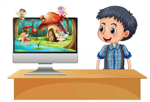 Niño junto al hada de la computadora en la pantalla