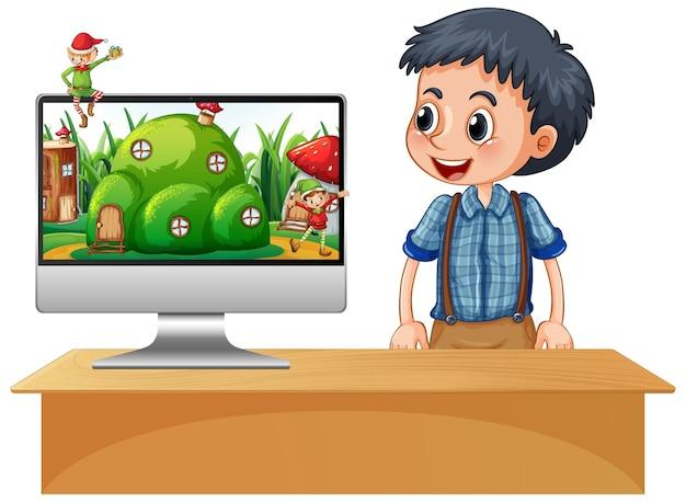 Niño junto a la computadora portátil en el escritorio con escena de fantasía