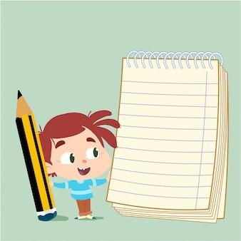 Niño con un lápiz y un cuaderno.