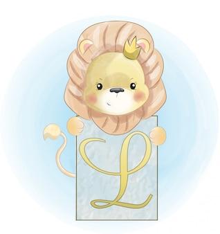 Niño león acuarela