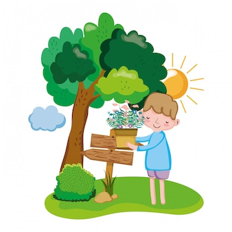 Niño levantando planta de interior con signo de flecha y árbol