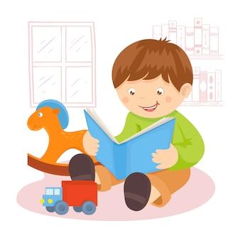 Niño leyendo un libro en el interior con juguetes y estantería ilustración vectorial