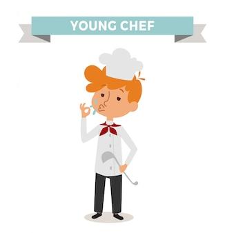 Niño lindo del cocinero de la profesión del vector de la historieta con la cuchara del cocinero