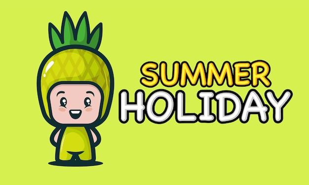 Niño lindo en diseño de banner de vacaciones de verano