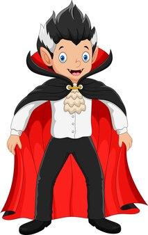 Niño lindo en un disfraz de vampiro de halloween