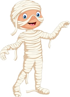 Niño lindo disfrazado de momia de halloween