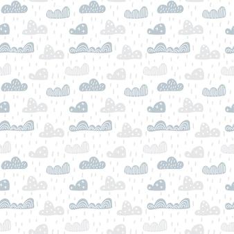 Niño lindo doodle nubes de patrones sin fisuras en estilo escandinavo. vector dibujado a mano fondos de pantalla para niños, vacaciones