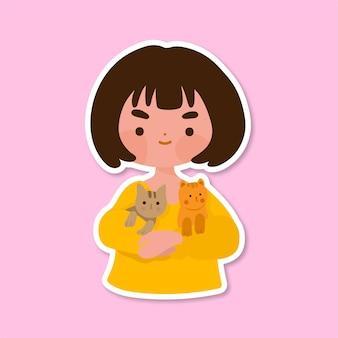 Niño lindo con gato aislado en rosa