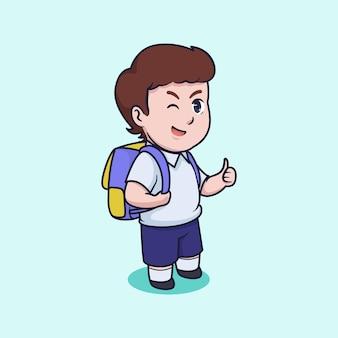 Niño lindo ir a la ilustración de vector de escuela