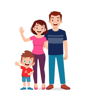 Niño lindo con mamá y papá juntos