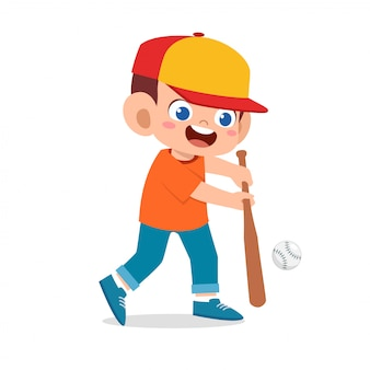 Niño lindo niño feliz jugando béisbol