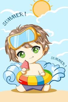 Niño lindo con sandía en la playa en la ilustración de dibujos animados de personaje de diseño de verano