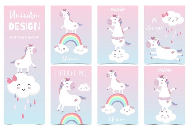 Niño lindo unicornio, arco iris, rosa, nube para invitación de cumpleaños