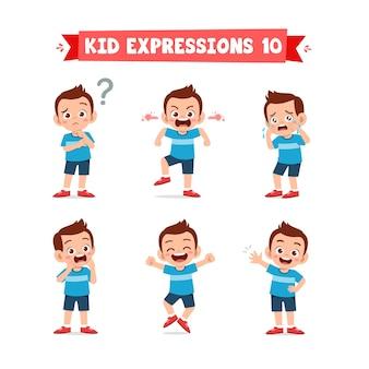 Niño lindo en varias expresiones y conjunto de gestos