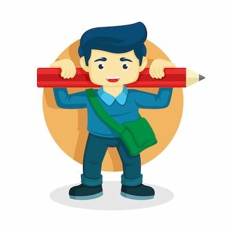 Un niño lleva un lápiz en el hombro. ilustración de vector de regreso a la escuela